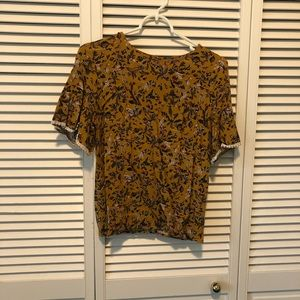 Abstract Floral Olive Blouse